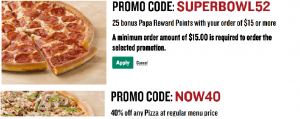 Papa Johns 40% off and a FREE Pizza